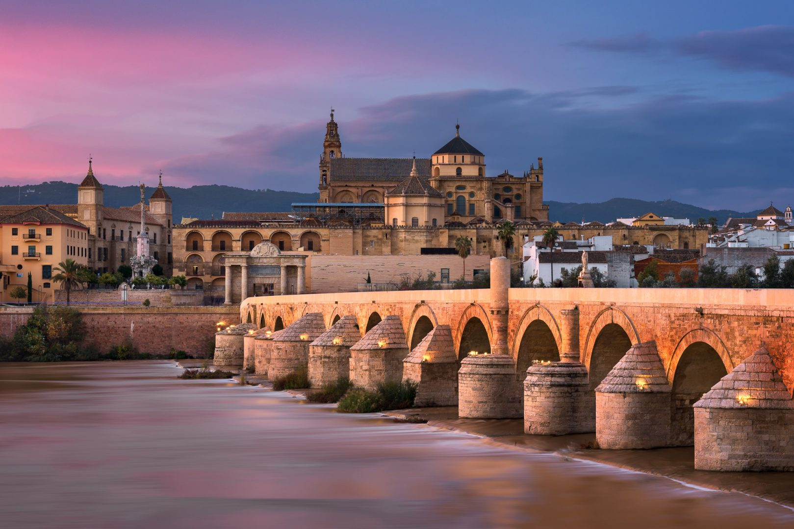 Roman Bridge and Cordoba Skyline at Sunset, Andalusia, Spain