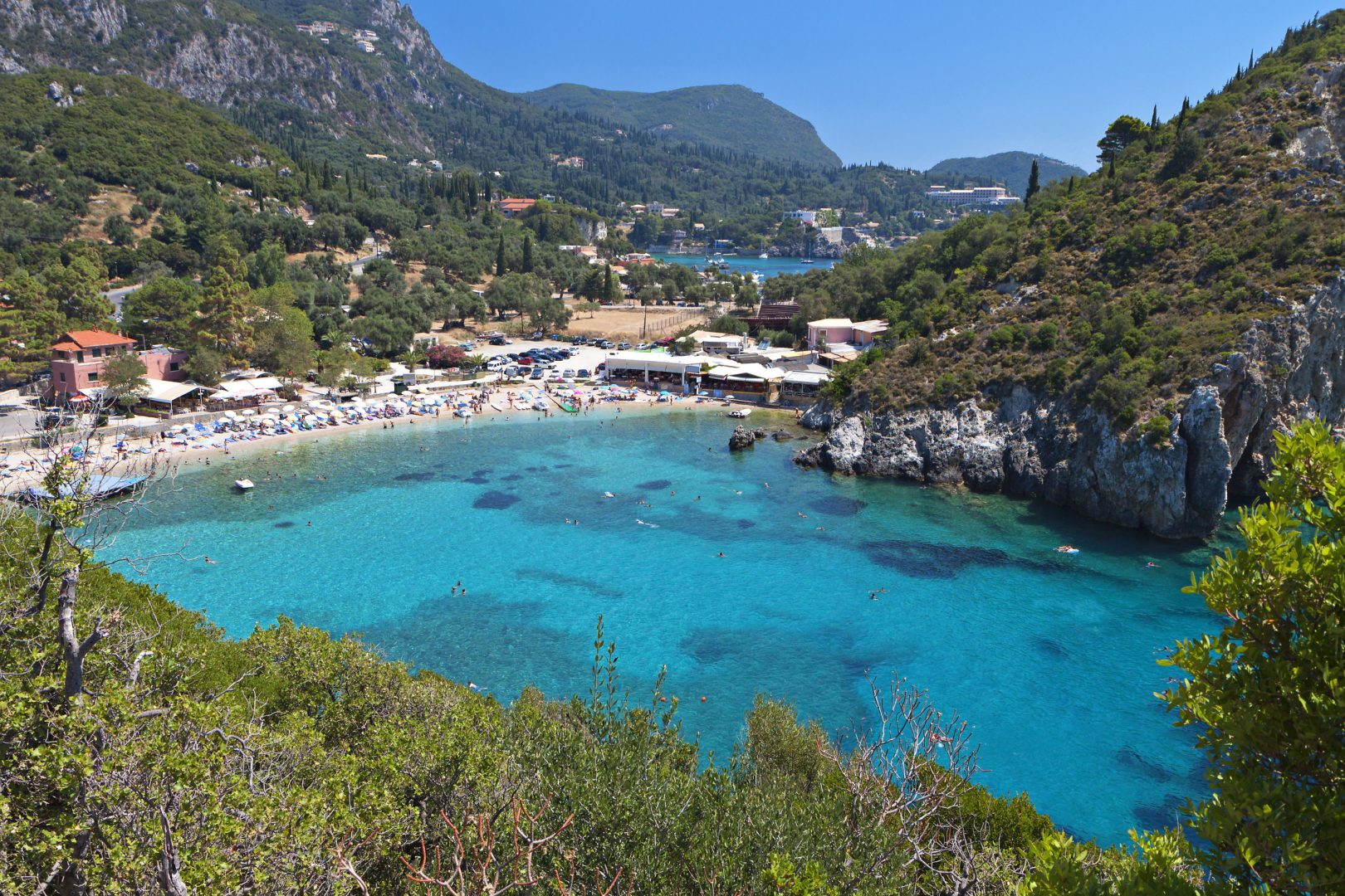 Palaiokastritsa beach at Corfu island in Greece